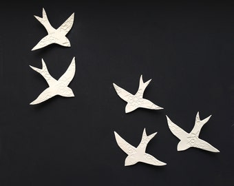 Porcelain wall hanging art sculpture Swallows over Morocco 5 White birds Handmade ceramic wall art Bathroom Hall Living room READY TO SHIP