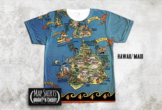 Vintage Hawaii Map Shirt, Fun In the Sun Ruth Taylor White, Oahu tshirt, kauai tee, Maui Shirt, Pictorial Hawaiian Map, island life tshirt