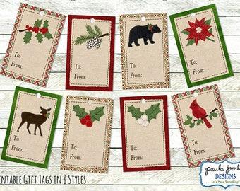 Printable Stitched Felt Christmas Gift Tags, Holiday Gift Tags, Christmas Tags, Christmas Digital Download, Rustic Christmas Gift Cards,