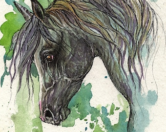 Dark grey arabian horse, equine art, equestrian, horse portrait,  original  ink and watercolour painting