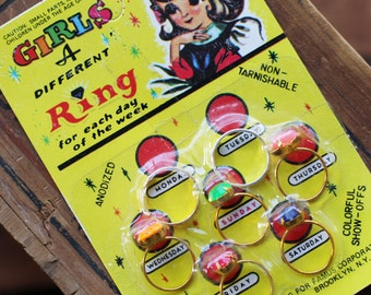 Vintage Little Girls Novelty Rings - Different Ring a Day - 7 Rings - Deadstock - New in Package