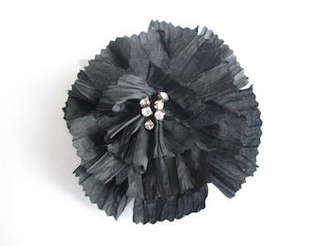 Flower brooch black ruffled shiny fabric in the Center rhinestone - ref 13B