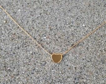 Gold Heart Necklace, Tiny Heart, 16k Gold, Satin Finish, Tiny Heart Necklace