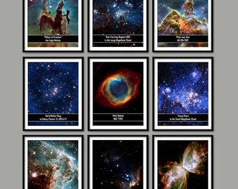 Hubble Telescope Prints Set Of 9 - NASA Astronomy - Space Bedroom Decor - Cosmos - Galaxy - Universe - Nebula - Star - Magellanic Cloud