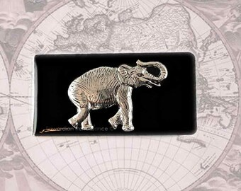 Money Clip Antique Silver Elephant Safari Neo Victorian Inlaid in Glossy Black Enamel on a Silver Plated Clip