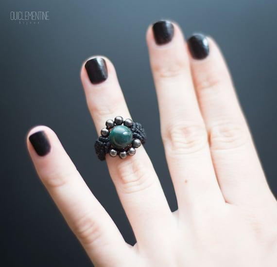 Black ocean jasper ring