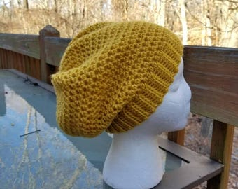 Banded Slouchy Beanie in Mustard - Ready to Ship