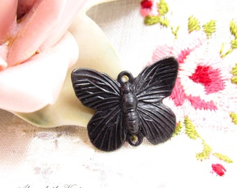 Antique Black Patina Butterfly Connector Links, Aged Patina Winged Insect Garden Charms 19x15mm- 4