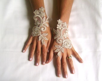 cappuccino Wedding gloves  happiness rose  bridal gloves  fingerless lace  gloves  cappuccino gloves french lace gloves