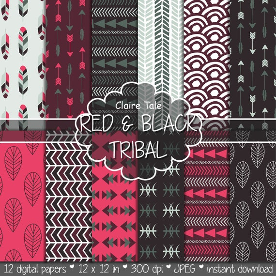 """Tribal digital paper: """"RED & BLACK TRIBAL"""" with tribal patterns and tribal backgrounds, arrows, feathers, leaves, chevrons in red and black"""