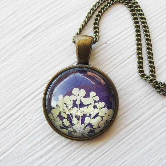 Real Pressed Flower Necklace - White and Violet Pressed Flower Necklace - Silver and Antique Brass