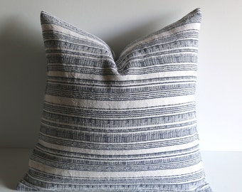 Cream Blue Striped Pillow Cover / Beach House Pillows / Designer Pillows / Cream Grey Navy Pillow / Masculine Pillow cover 18x18
