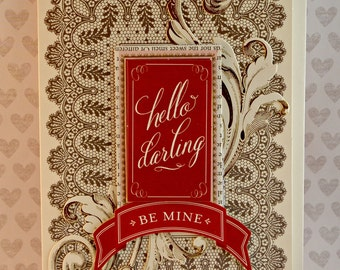 Be Mine Handmade 3D one-of-a-kind Card with Anna Griffin Materials