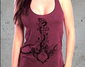 Women's ANCHOR Shirt,Anchor Tank Tops For Women, Women's Graphic Tee, Racer Back Tank Top American Apparel Tri-Blend Tee S M L, Xmas Gift