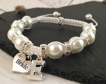 Personalised Bride Bracelet, Bridal Charm Bracelet, Personalised Bridal Jewellery, Wedding Jewellery, Macramé Jewellery, Gift for Bride