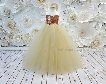 Champagne Flower Girl Tutu Dress-Champagne Tutu Dress-Champagne Tutu-Champagne Dress-Champagne Girl Tutu-Champagne Birthday Dress-Champagne