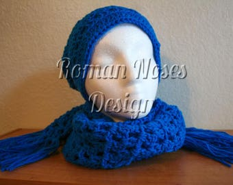 Royal Blue Crochet Hat and Scarf Set FREE SHIPPING