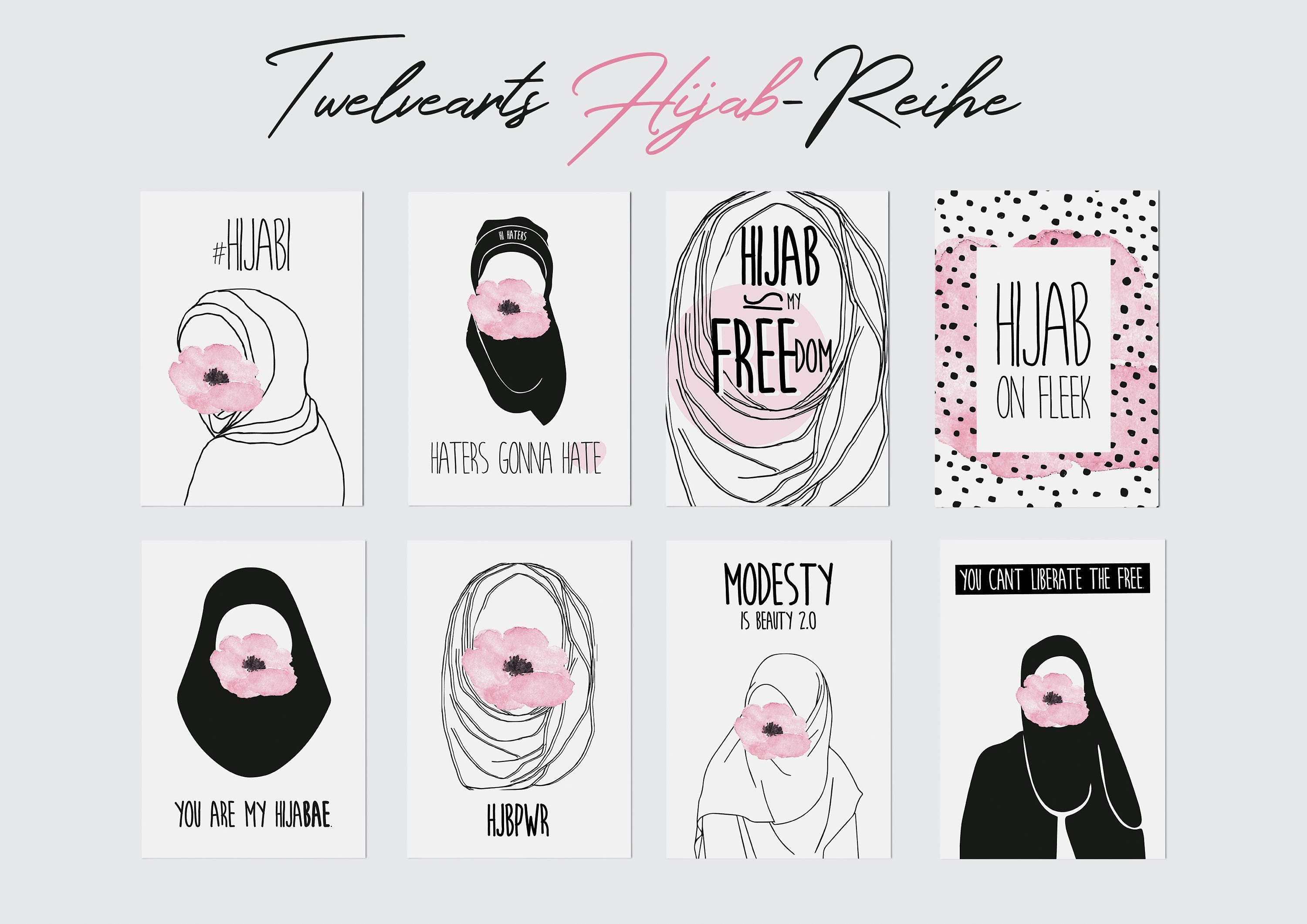 Hijab Postcards Set, Hijabi, Muslimcards, Hijabista, Modern Hijabcards, Typography, Illustration, Muslim Design