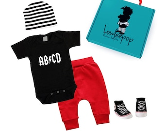 ROCKSTAR BABY KIT abcd black onesie red pants striped hat booties & optional gift box