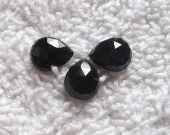 5pcs 12x16mm Pear rose cut Natural BLACK ONYX Rose faceted gemstone, black onyx rose cut pear faceted flat gemstone