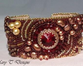 Garnet and Gold Bead Embroidery Cuff Bracelet ... EBW Team
