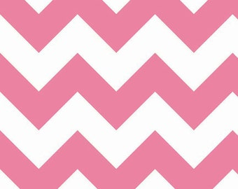 SALE- 1 yard of Large Pink Chevron by Riley Blake