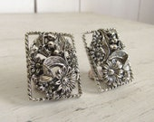Silver Floral Earrings 70s Mid Century Large Clip Ons Vintage Sarah Coventry Costume Jewelry