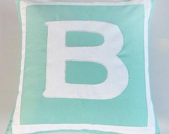 aqua blue letter pillow. Nursery room decorative  Initial cushion cover.  Parsnalize pillow.  monogram pillow cover 12 inch Custom made