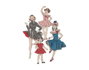 1950s Girls Dance Costume Pattern Bust 26 Butterick 5913 Flared Dance or Skating Dress with Hat Princess Seams Contrast Collar Cuffs