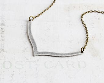 Antiqued Silver V Necklace, Simple V Shaped Necklace on Antiqued Brass Chain, Two Tone Necklace, Geometric Jewelry