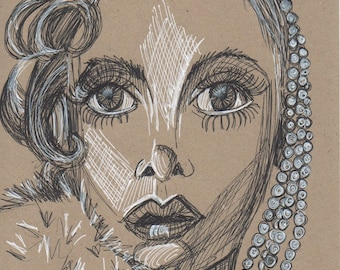 Twiggy Flapper  Crosshatching drawing on Kraft paper
