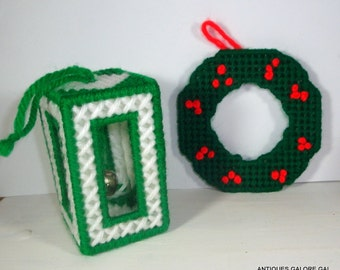 Two Needlepoint Christmas Ornaments, Christmas Tree Ornament, Jingle Bell, Wreath, Green, Red, White Yarn  (351-14)