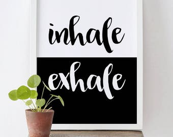 Inhale Exhale Print, Minimalist Typography Art, Yoga Wall Art,Home Wall Art, Instant Download, Pilates Art, Relaxation Gifts, Breathe Print