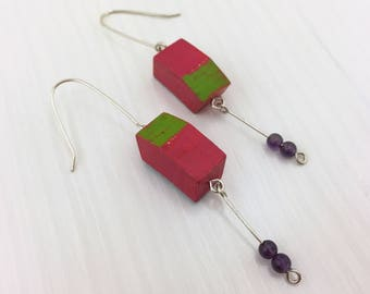 Bold Pink and Green Earrings With Amethyst Dangles