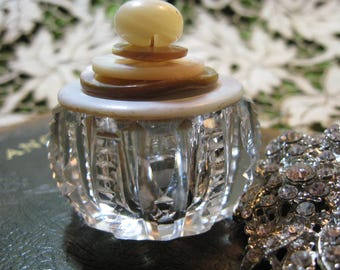 Cut Glass Trinket Box/ Vintage Clear Cut Glass Salt Dish with Stacked Button Lid/ Vintage Mother of Pearl Buttons/ Ring Box/ Jewelry Box