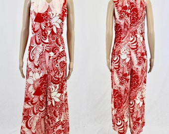 Red & White Large Print Jumpsuit / Made in Finland / 1970s Jumpsuit /  70s Small size 36 / Flower Power