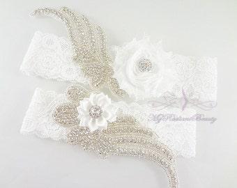 Bridal Garter, Wedding Garter, Sexy Garter, Crystal Flower Garter, Bridal Flower Garter, Handmade Custom Garter, Beaded Garter GTF0008W