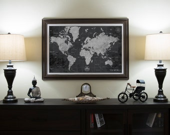 World map canvas art etsy world map canvas print personalized world map push pin travel map vintage framed custom classic gumiabroncs Images