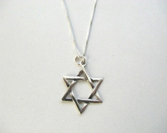 Sterling Silver Classic Star of David Pendant Necklace