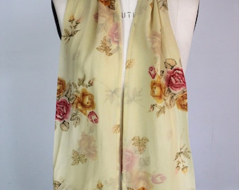 Vintage 1990s Floral Scarf / Silk Chiffon / Ivory With Pink And Yellow Roses / Flowers