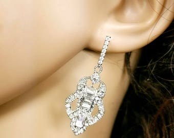 Art Deco Bridal Earrings, Vintage Wedding Earrings, Bridesmaid Earrings, Cubic Zirconia Earrings,1920's Great Gatsby Jewelry, Antique Style
