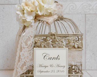 Champagne Gold Wedding Birdcage Card Box | Wedding Card Holder | Birdcage Card Holder | Custom Wedding Card Box