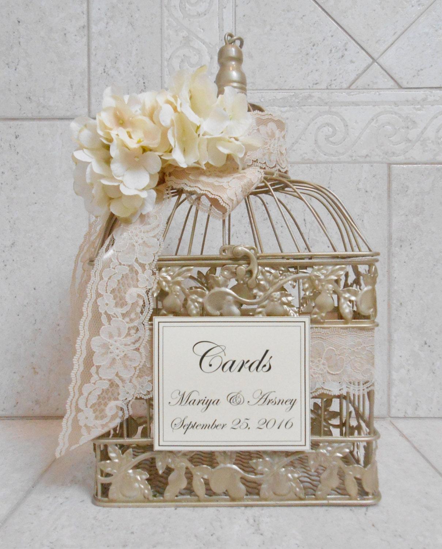 Champagne Gold Wedding Birdcage Card Box Wedding Card Holder