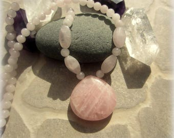 Pearl rose quartz necklace
