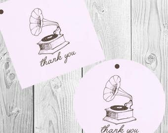Vintage Music Favor Tags / Music Gift Tags / Vintage Shower Favor Tags / Party Favor Music Tags / Vintage Music Thank You Tags / Set of 20