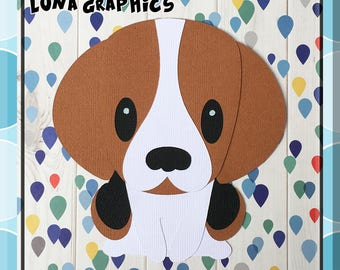 BEAGLE SITTING DOG  Paper Piecing card making and scrapbooking