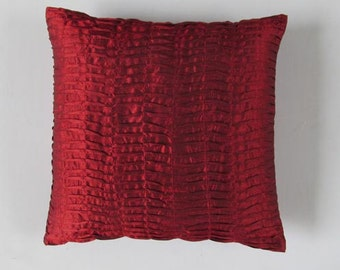 deep red pleated euro sham pillow. Decorative floor pillow. Pintuck home decor. Merron silk pintuck pillow  26X26 inch - Custom made