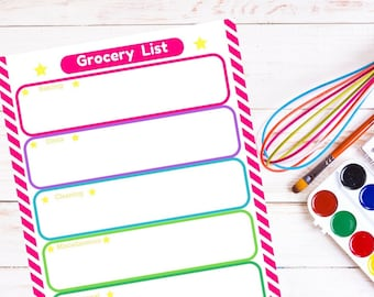 Editable Grocery List Printable Planner Page - INSTANT DOWNLOAD - Shopping, Categories, Planning