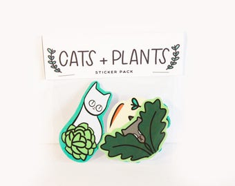 Cat Stickers / Plant Stickers / Plants / Cute Cat Stickers / Cat Sticker Set / Laptop Stickers / Succulents / Gift for Cat Lady / Cat Gift