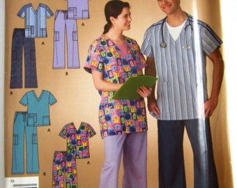 Easy Sew Misses Mens Teens Scrub Top and Pants Sizes XS S M L XL It's So Easy Simplicity Pattern 3633 UNCUT